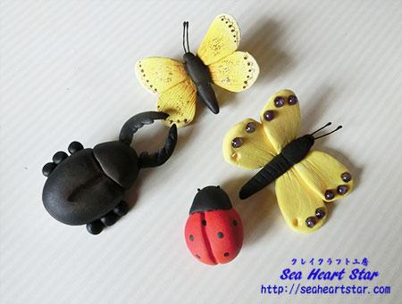 蝶とカブトムシとてんとう虫のブローチ