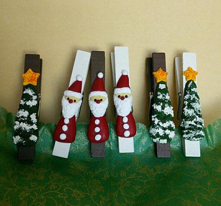 サンタとツリーの木製ピンチ