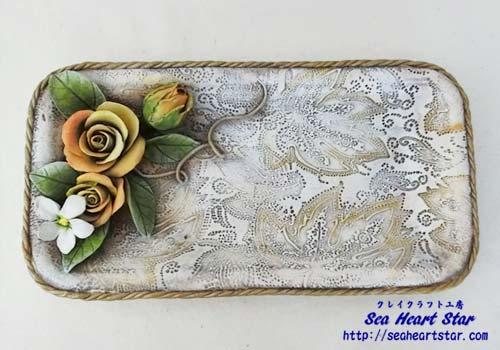 薔薇と小花のトレー